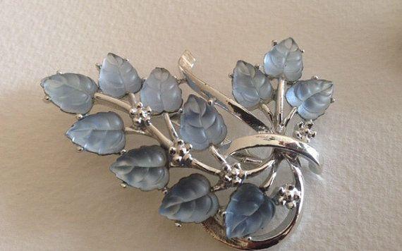Coro Signed Vintage Blue Leaf Brooch set in silver tone by 4Seas, $30.00