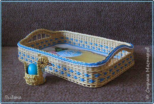 Поделка изделие Пасха Плетение Пасхальный поднос Бумага газетная Трубочки бумажные фото 6