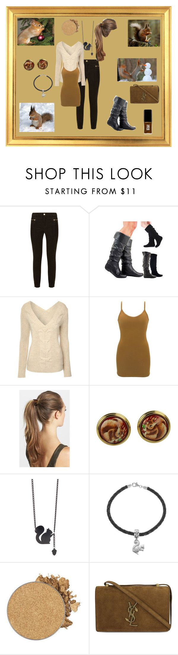 """""""Squirrel"""" by christinejoanna ❤ liked on Polyvore featuring J Brand, Jane Norman, BKE, France Luxe, Hermès, Anastasia Beverly Hills, Yves Saint Laurent, Jin Soon and animal"""