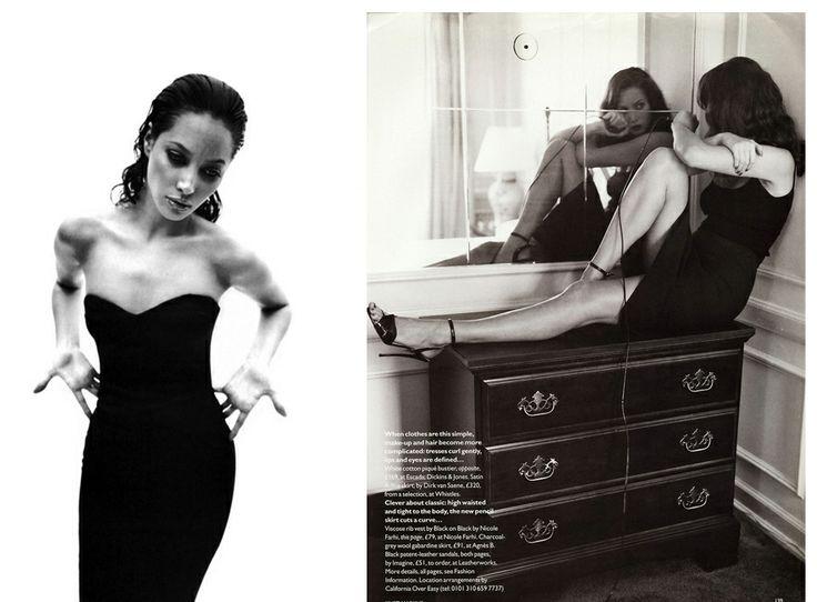 1995 Кристи Терлингтон, фото Марио Сорренти, итальянский Vogue, май;  и Кристи Терлингтон в британском Vogue, февраль