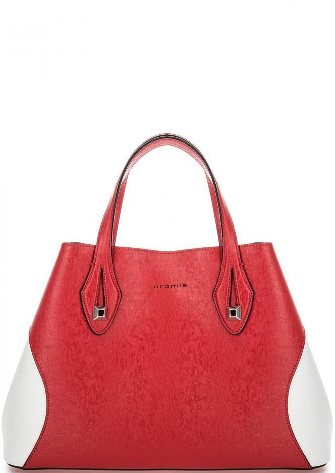 Кожаная сумка с контрастными вставками 1403196 rosso застегивается на магнитную кнопу и фиксируется хлястиками на кнопки, купить в интернет-магазине. Цена: 14490