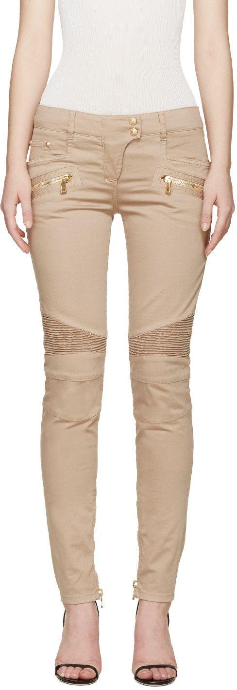 Balmain - Tan Skinny Biker Jeans