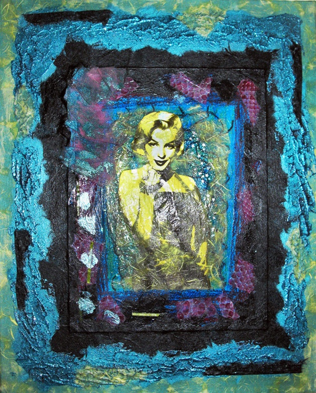''Marylin Monroe'' mixed media art on canvas 50x40 cm   materials: acrylics, papers, fabric, glitter glue, toule - On sale for $396.838