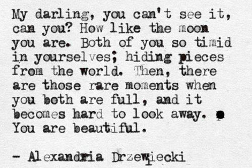 """My darling, you can't see it can you? How like the moon you are"" -Alexandria Drzewiecki"