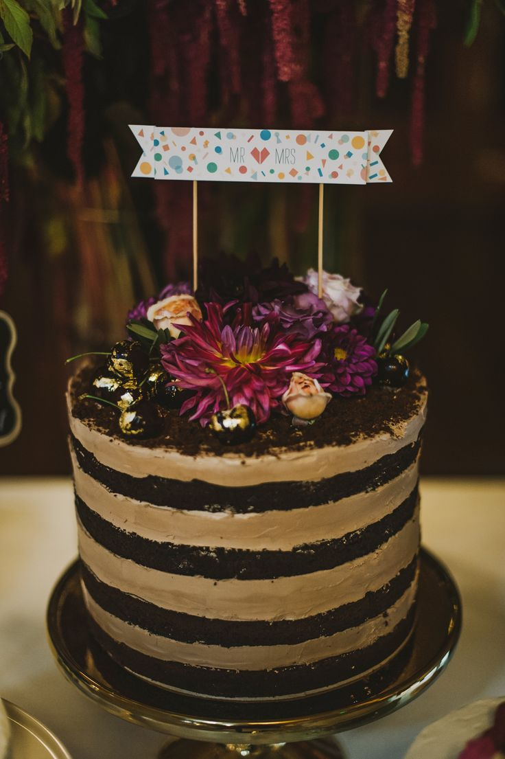 Naked Black Forrest Cake with Gilded Cherries by Creative Hunger