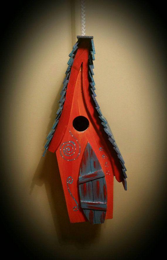 Zonsondergang opknoping vogel huis/birdhouse / handgemaakte/tuin kunst /bird huizen /birdhouses