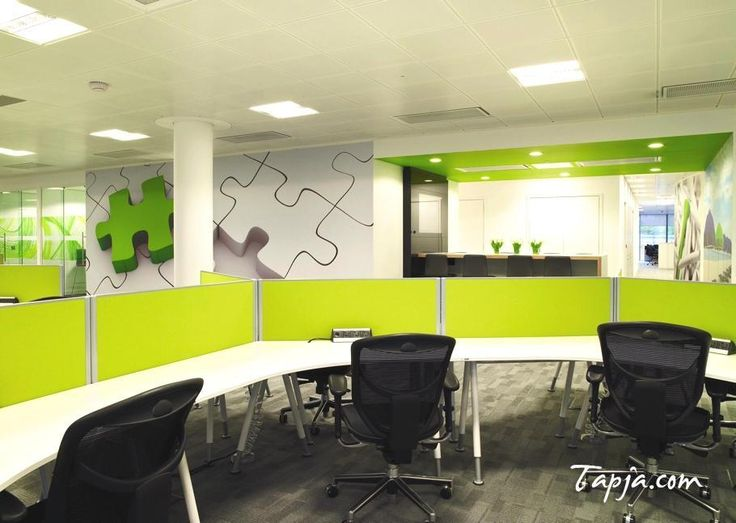 green office design. Delightful White Green Wall Colors For Modern Office Design With Yellow Paint Partition Desk Plus