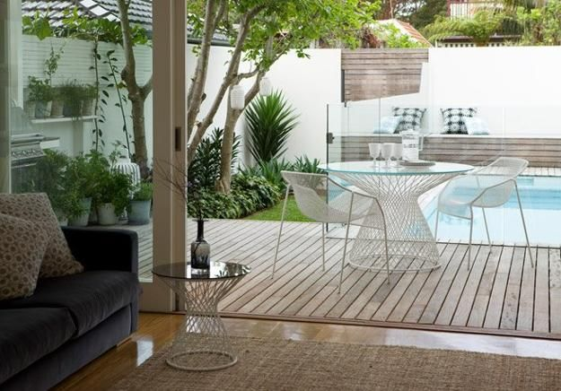 wooden decks around swimming pool