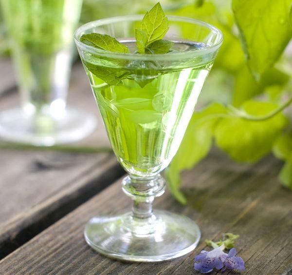 Liquore al basilico e vino bianco