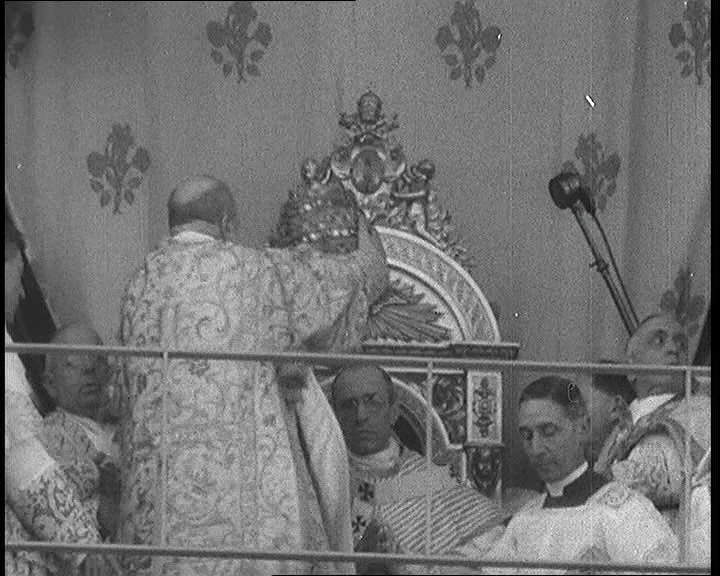 Pope Pius XII is crowned in this 1939 newsreel: http://www.britishpathe.com/video/coronation-of-the-pope
