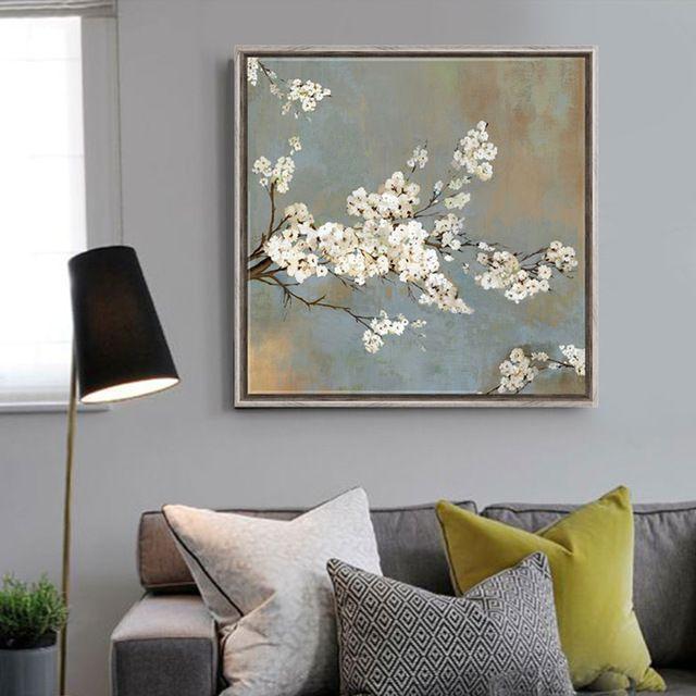 Wei kirschbaum blumen malerei leinwand drucke wohnkultur for Bilder fur wohnzimmer blumen