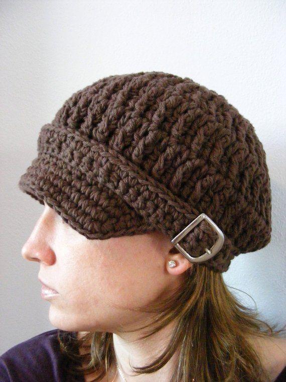 Womens Newsboy Cap Chocolate Brown Newsboy Hat Crochet Newsboy Silver  Buckle Trendy Winter Hat Women 9cc2c59c7