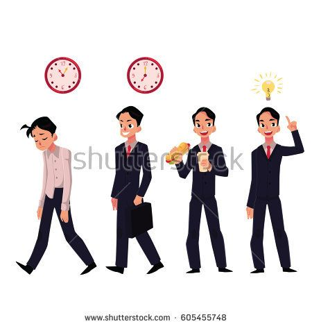 Young businessman tired, going to work with briefcase, eating lunch, having idea, cartoon vector illustration isolated on white background. Businessman, employee in business situations, career concept