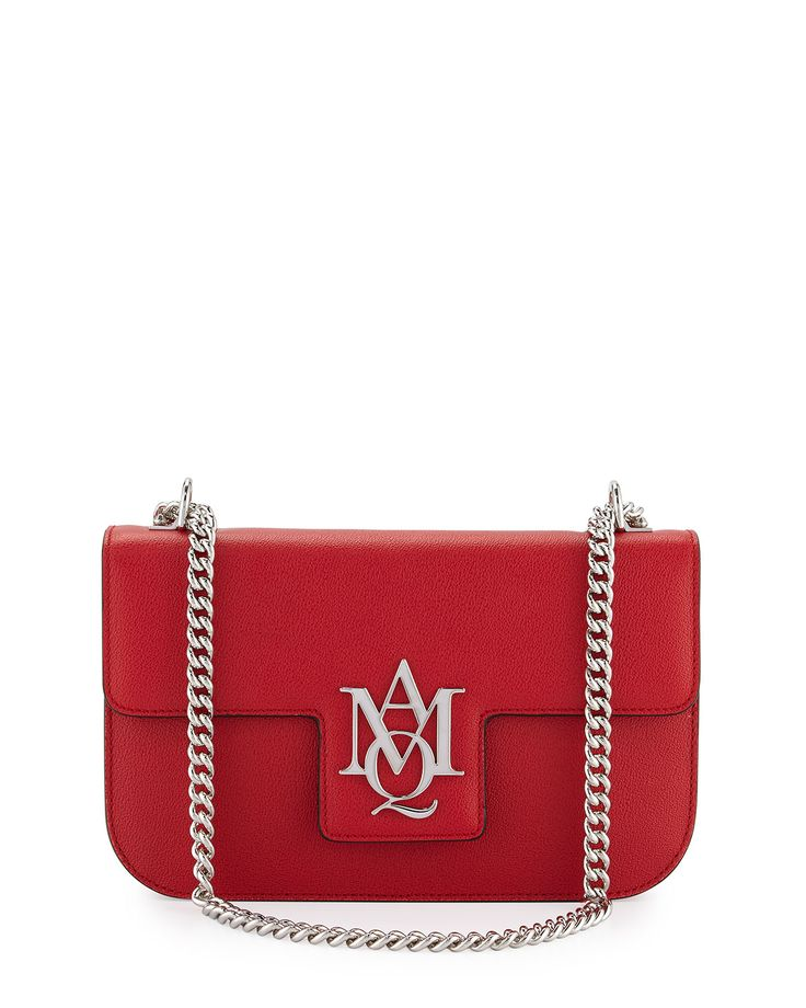 Insignia Small Chain Satchel Bag, China Red - Alexander McQueen
