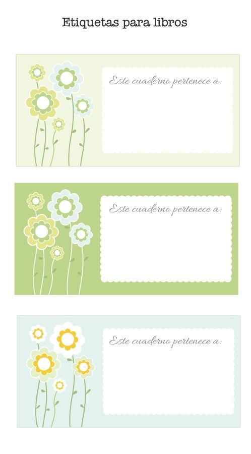 Etiquetas para poner el nombre a los libros. Puedes descargarlas gratis en: http://dibujos-para-colorear.euroresidentes.com/2013/09/etiquetas-de-libros-para-imprimir.html