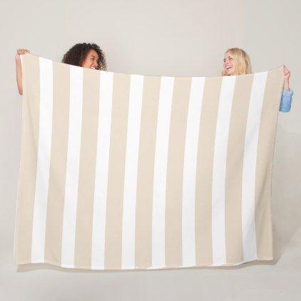 WIde stripes cream and white Fleece Blanket - chic design idea diy elegant beautiful stylish modern exclusive trendy
