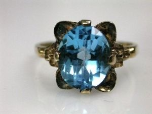 Retro Blue Topaz Ring