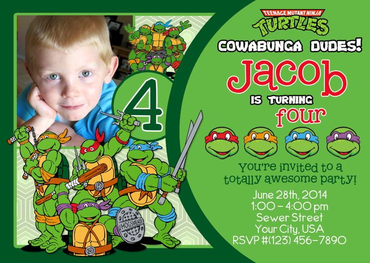 photo teenage mutant ninja turtle birthday invitations