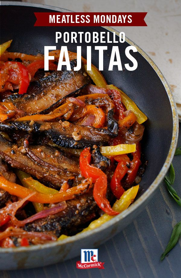 Things are heating up at the dinner table tonight … we're cookin' vegetarian fajitas! This version is made with simple, tasty ingredients, including the bold flavor of McCormick Organics Fajita Seasoning Mix. A hearty portobello, onion and pepper filling is the perfect meat substitute to make this easy meal vegetarian-friendly. Serve with toppings including salsa, guacamole, Cheddar cheese and more for a quick and easy weeknight meal.