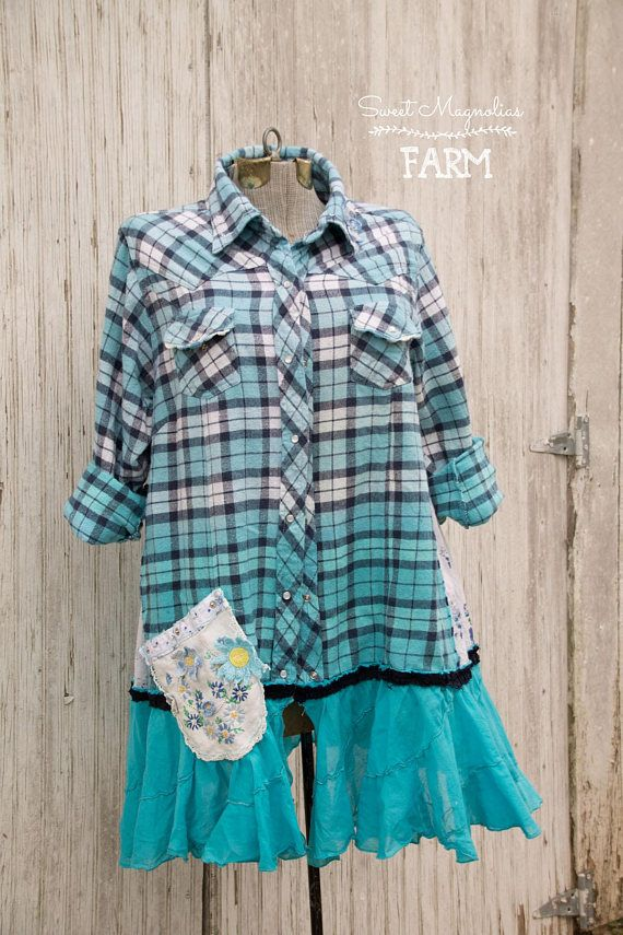 Farm Girl Fancies by: Sweet Magnolias Farm (To Read entire description please click on the +MORE in the bottom left of description) This gorgeous flannel shirt was designed here at the farmhouse In A- Line Style for all of us curvy gals that like a loose but flowing fit ...