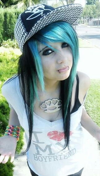 Blue And Black Scene Hairstyle