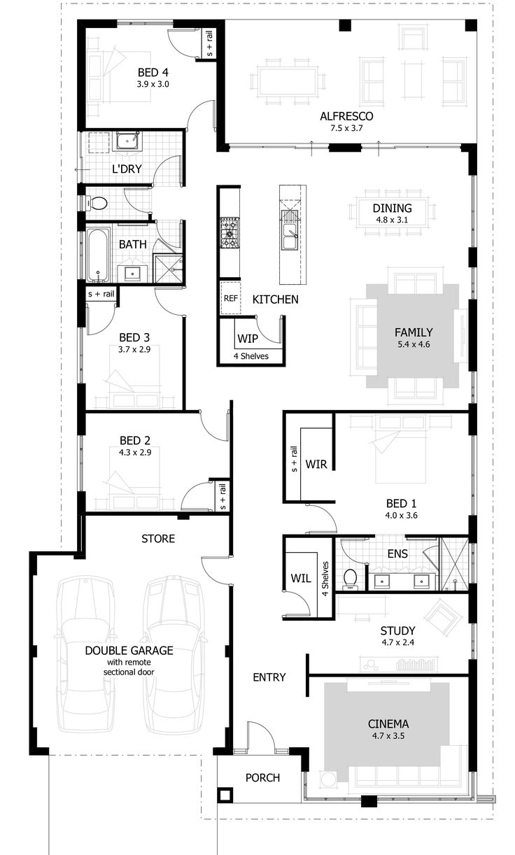 Best 25 4 bedroom house ideas on pinterest 4 bedroom for Single bed house plans