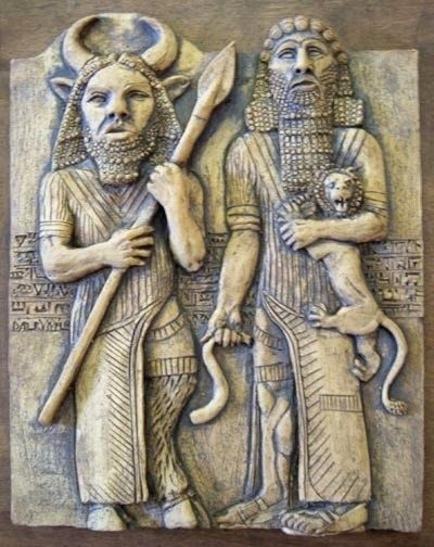 """Enkidu and Gilgamesh. Characters out of the earliest Mesopotamian creation story cycle called the Enuma Elish. - Gilgamesh (meaning """"the old man is now a young man"""") is perhaps the greatest hero in ancient Near Eastern literature. The story of this hero is based on a legendary king of the same name who ruled the Mesopotamian city of Uruk sometime between 2700 and 2600 b.c.e."""