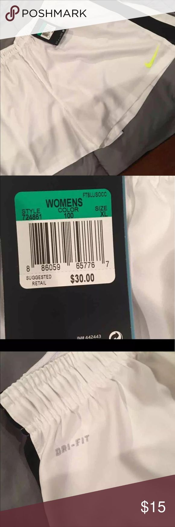 NWT Soccer Tennis Shorts White Nike DriFit New With Tags DriFit White Nike Shorts. Brand New $30. Fast Shipping. Nike Shorts