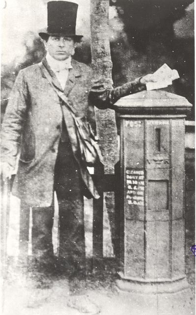 British Postman and pillar box, late 1850s by British Postal Museum & Archive.  Note his hat and coat/trousers; emigrants took their normal clothing with them to Utah!