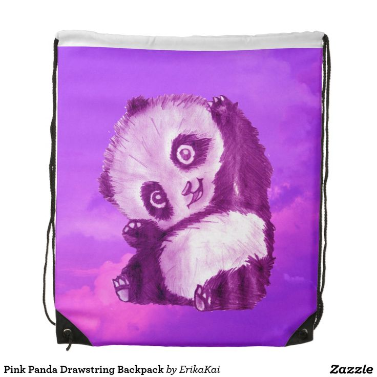 "Pink Panda Drawstring Backpack. 100% polyester. Dimensions: 14.75"" x 17.3""."