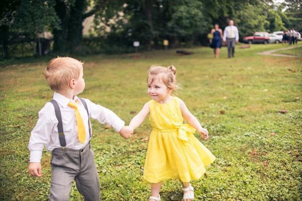 Yellow and Grey Wedding Party | ... the ring bearer wore adorable gray pants gray suspenders a yellow tie