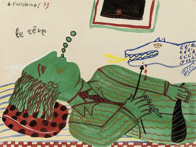 Alecos Fassianos - Le rêve, 1973, gouache on paper