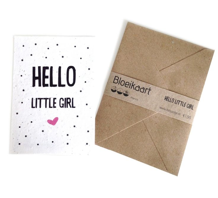 Bloeikaart Hello little girl  Stuur een bloemetje per post! In deze kaart zijn klaprooszaadjes verwerkt. Bedek met een dun laagje aarde en houd dit vochtig tot de zaadjes beginnen te kiemen.   Op de achterkant van de kaart staat een duidelijke instructie - € 1,95