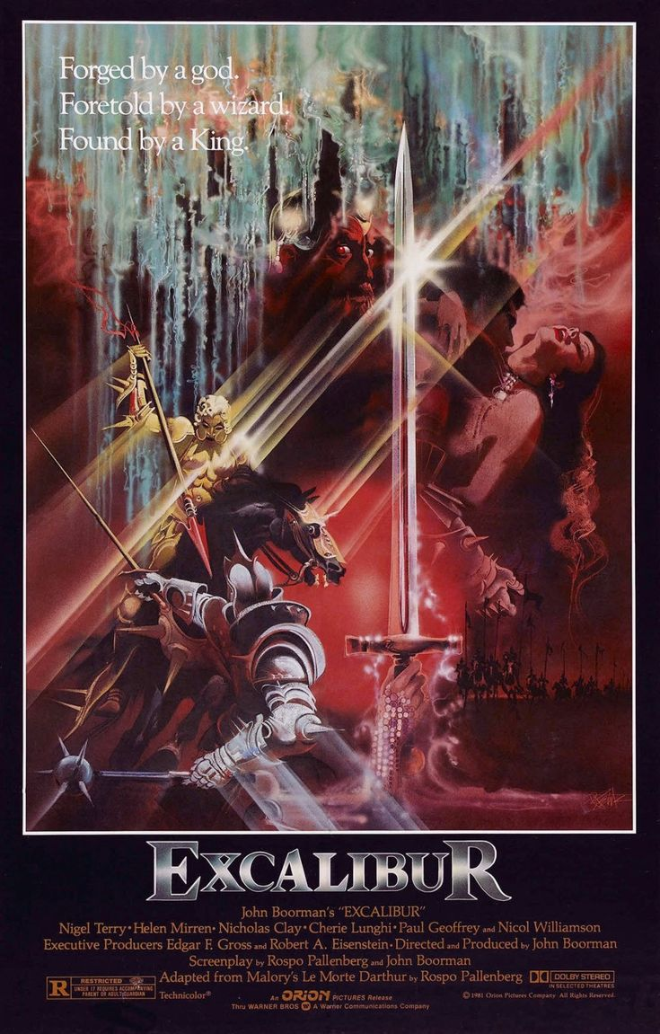 Excalibur (1981) - Boorman was influenced by the Grail mythology, which informed a number of his films. He finally decided to adapt the Arthurian legends and audaciously dealt with the complete cycle, focusing on the romantic triangle of Arthur, Guinevere and Lancelot along with Perceval's search for the hidden chalice. The splendour of the visuals is never divorced from the energy of the narrative, and the mixture of the epic, the tragic, the elegiac and the comic proves exhilarating.