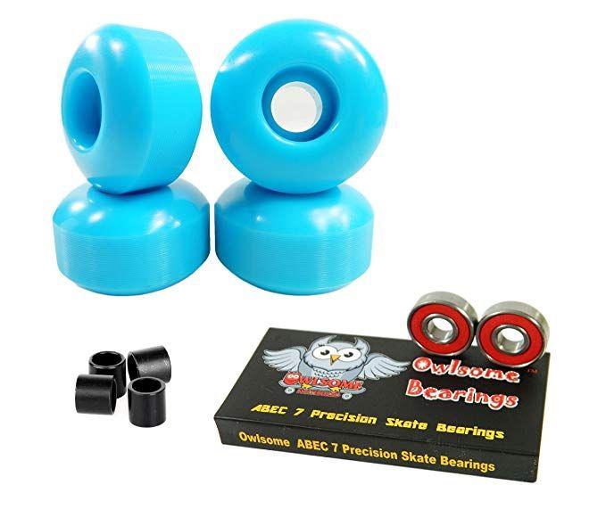 Blank Skateboard Wheels With ABEC 7 Bearings 54mm White