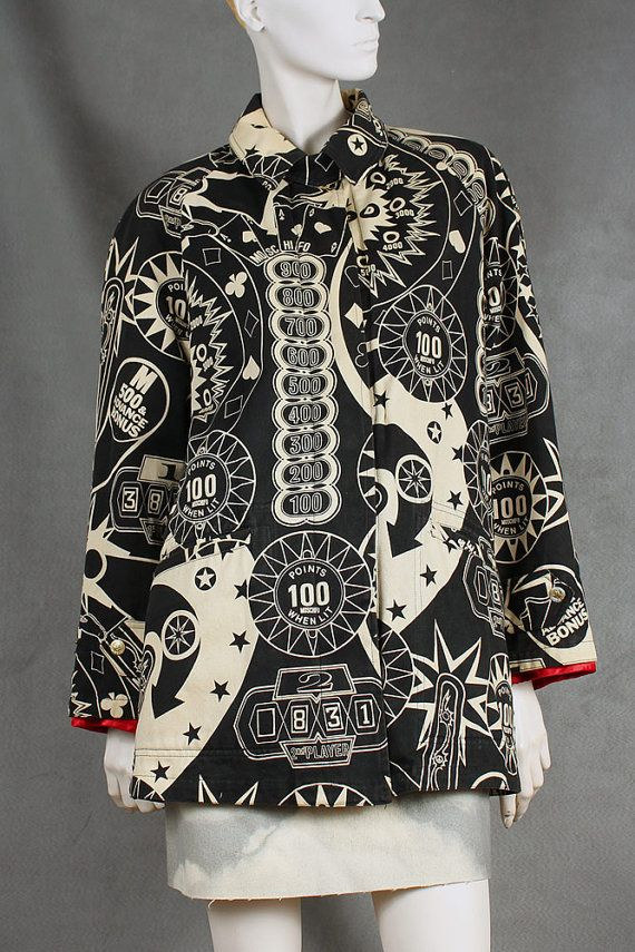 Vintage Moschino Pinball Printed Coat by NOTHINGSPECIALetsy