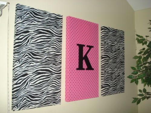 Zebra Hot Pink Initial Fabric Wall Hanging Set Decor Zebra Bedding Decorations