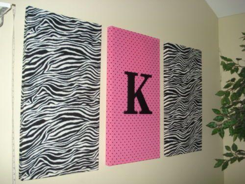 Zebra Hot Pink Initial Fabric Wall Hanging Set Decor Zebra Bedding Decorations