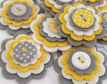 Items similar to BABY GIRL GREY x3 Handmade Layered Felt Flower Button…