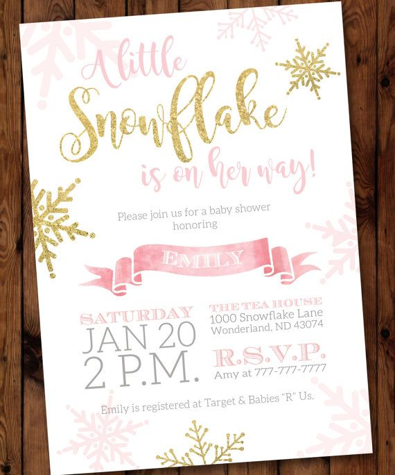 Little Snowflake Baby Shower Invitation, Snowflake Baby Shower Invitation,  Winter Baby Shower Invitation #002