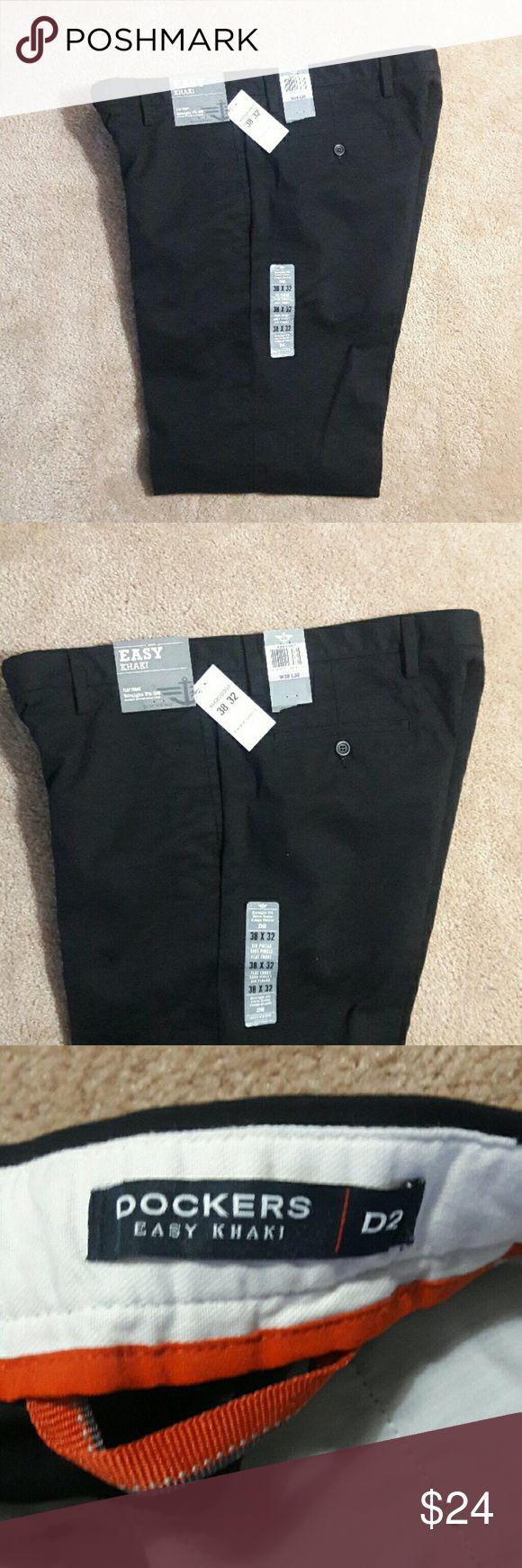 Dockers Easy Khaki D2 Mens Pant 38 X 32 Black Dockers Easy Khaki D2 Mens Pant   Size - 38 X 32   Color - Black  Straight Fit, Flat Front Dockers Pants Chinos & Khakis