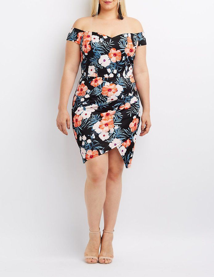 Plus Size Floral Off The Shoulder Bodycon Dress Products