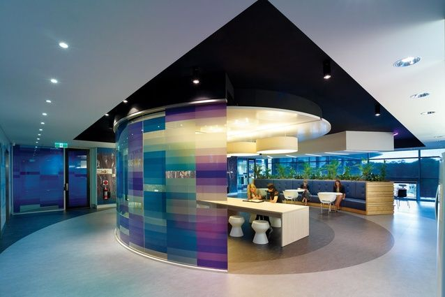 Interior collaborative spaces are a gesture  to the colour spectrum of soundwaves.