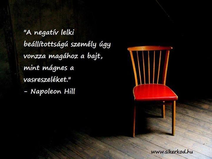 Napoleon Hill gondolata a negatív hozzáállásról. A kép forrása: sikerkod