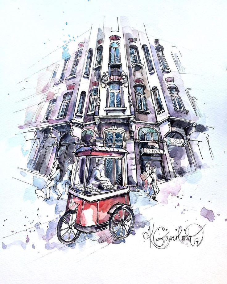 Watercolor Гаврилова Кристина (@xtina_gavrilova_art) в Instagram: «Istiklal caddesi in Istanbul Вот такая улица есть в Стамбуле , пожалуй самая знаменитая» #sketchbook #ink #pen#doodle #paint #painting #sketch #drawing #sketching #sketchbook #travelbook #arch_more #archisketcher #sketchaday #sketchwalker #sketchcollector #artbook #artjournal #traveldiary #topcreator #usk #urbansketchers #urbansketch #скетчбук #скетч #скетчинг #aquarelle #usk #architecture
