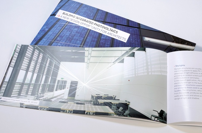 Brochure on photovoltaic panels integrated into architecture.  www.double-id.com