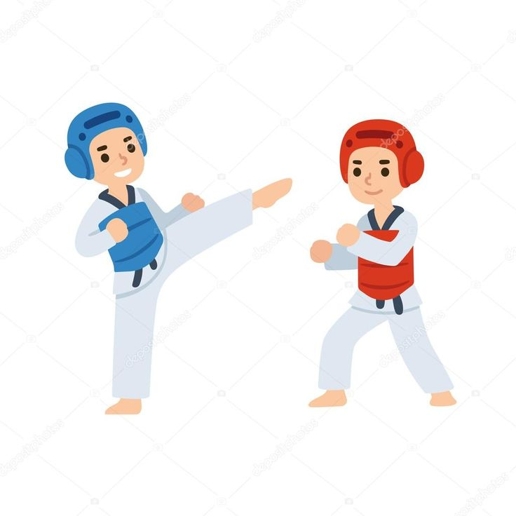 Taekwondo niños luchando — Ilustración de Stock #120575586