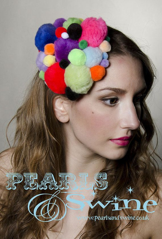 Multi Coloured Pompom Fascinator Unconventional Hair Accessories Colourful by Pearls & Swine