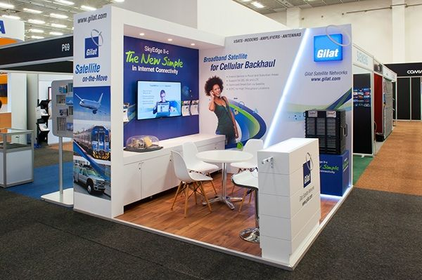 Corner Exhibition Stands Out : Full custom m corner booth for gilat at