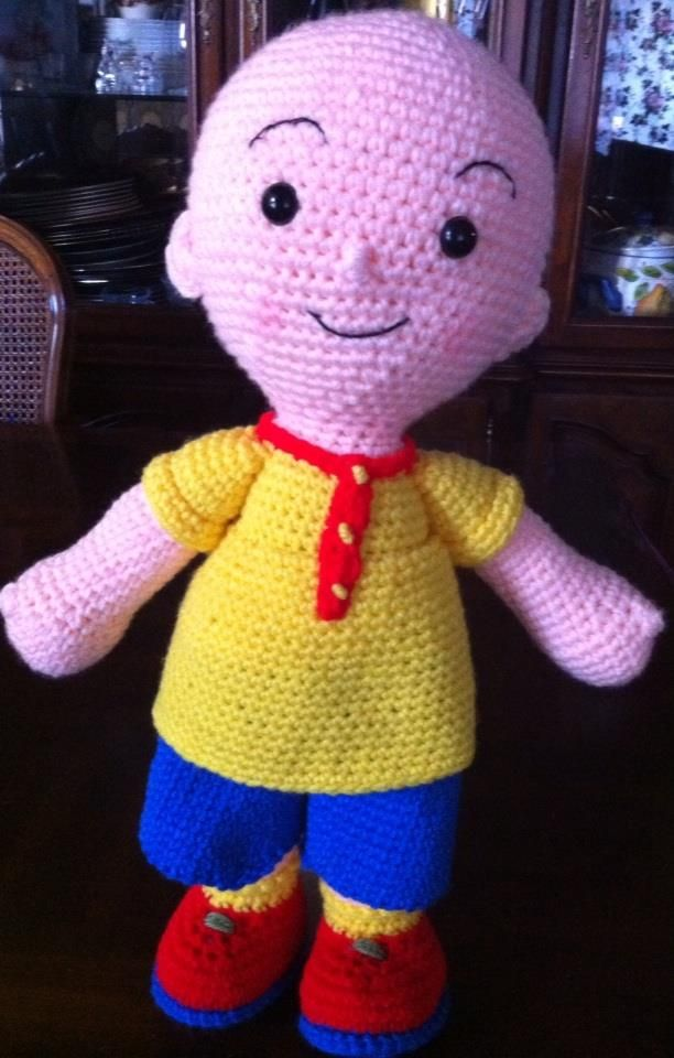 "Crochet Caillou doll, 19"" tall!"